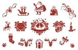 Geplaatste Kerstmis decoratieve elementen Royalty-vrije Stock Afbeeldingen