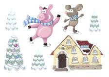 Geplaatste Kerstmis - een huis, een varken en een Kerstboom Royalty-vrije Stock Foto's