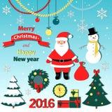 Geplaatste Kerstmis - etiketten, emblemen en andere decoratieve elementen Stock Fotografie