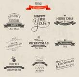 Geplaatste Kerstmis - etiketten, emblemen en elementen Royalty-vrije Stock Foto