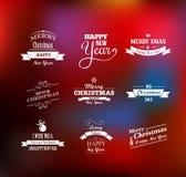 Geplaatste Kerstmis - etiketten, emblemen en elementen Stock Fotografie