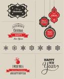 Geplaatste Kerstmis - etiketten, emblemen en elementen Stock Afbeelding