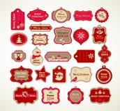 Geplaatste Kerstmis - etiketten, markeringen en decoratieve elementen Royalty-vrije Stock Afbeelding
