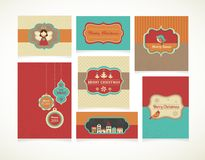 Geplaatste Kerstmis - etiketten, markeringen en groetkaarten Royalty-vrije Stock Foto's