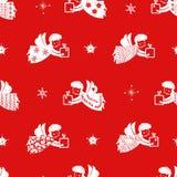 Geplaatste Kerstmis - hand-drawn engelensilhouetten met eenvoudige patronen Decoratie voor Kerstmisboom Vector illustratie vector illustratie