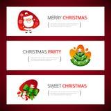 Geplaatste Kerstmis Horizontale Banners royalty-vrije stock afbeelding