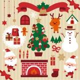 Geplaatste Kerstmis leuke karakters en ontwerpelementen royalty-vrije illustratie