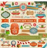 Geplaatste Kerstmis - uitstekende linten Royalty-vrije Stock Afbeelding
