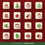 Geplaatste Kerstmis Vlakke Pictogrammen Royalty-vrije Stock Fotografie