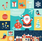 Geplaatste Kerstmis Vlakke Pictogrammen Stock Afbeelding