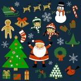 Geplaatste Kerstmiselementen Stock Afbeelding