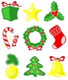 Geplaatste Kerstmiselementen Royalty-vrije Stock Foto's