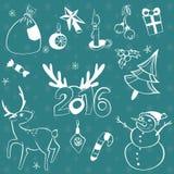 Geplaatste Kerstmiselementen Vector pictogrammen De elementeninzameling van het ontwerp Beeldverhaalvoorwerpen Sneeuwmannen, hert Stock Foto
