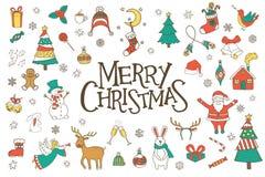 Geplaatste Kerstmishand getrokken krabbels Stock Fotografie
