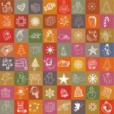 Geplaatste Kerstmishand getrokken pictogrammen Illustratie Stock Foto's