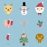 Geplaatste Kerstmispictogrammen Royalty-vrije Stock Foto