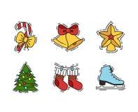 Geplaatste Kerstmispictogrammen, de vectoroverzicht en illustraties van de kleurenkleur Stock Foto