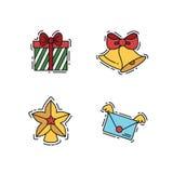 Geplaatste Kerstmispictogrammen, de vectoroverzicht en illustraties van de kleurenkleur Stock Afbeelding