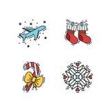 Geplaatste Kerstmispictogrammen, de vectoroverzicht en illustraties van de kleurenkleur Royalty-vrije Stock Fotografie