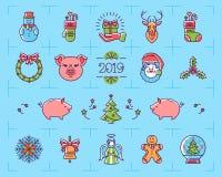 Geplaatste Kerstmispictogrammen, Dierenriemjaar van het Varken 2019, Nieuwjaar geïsoleerde symbolen De kleurrijke pictogrammen va stock illustratie