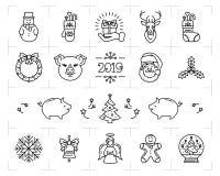 Geplaatste Kerstmispictogrammen, Dierenriemjaar van het Varken 2019, Nieuwjaarsymbolen De pictogrammen van de Kerstmislijn, de te royalty-vrije illustratie