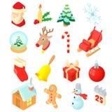 Geplaatste Kerstmispictogrammen, isometrische 3d stijl stock illustratie