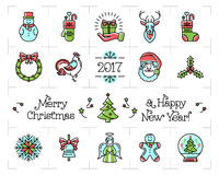 Geplaatste Kerstmispictogrammen, Nieuwjaarsymbolen Het embleem van de vieringslijn Stock Foto's