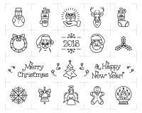 Geplaatste Kerstmispictogrammen, Vakantiesymbolen, Nieuwjaarpictogrammen Chinees dierenriemjaar van de hond 2018 Vector vlakke il vector illustratie