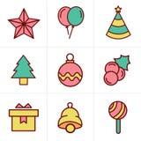 Geplaatste Kerstmispictogrammen van de pictogrammenstijl Royalty-vrije Stock Foto's