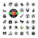 Geplaatste Kerstmispictogrammen. Vector Royalty-vrije Stock Fotografie