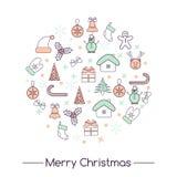 Geplaatste Kerstmispictogrammen, vector Royalty-vrije Stock Afbeeldingen