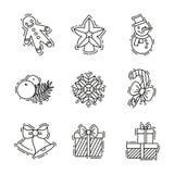 Geplaatste Kerstmispictogrammen, vectoroverzicht decoratief voor zaken Royalty-vrije Stock Foto
