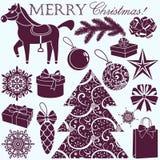Geplaatste Kerstmissilhouetten royalty-vrije illustratie