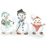Geplaatste Kerstmissneeuwmannen Royalty-vrije Stock Foto's