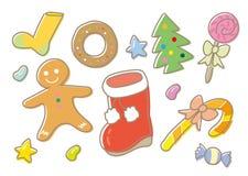 Geplaatste Kerstmissnoepjes - vrije handtekening royalty-vrije illustratie