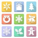Geplaatste Kerstmissymbolen Stock Afbeeldingen