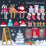 Geplaatste Kerstmissymbolen Royalty-vrije Stock Fotografie