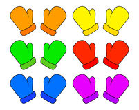 Geplaatste Kerstmisvuisthandschoenen, het ontwerp van beeldverhaalhandschoenen, pictogram, symbool De winter vectordieillustratie stock illustratie
