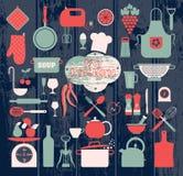 Geplaatste keuken abstact pictogrammen Stock Afbeelding