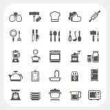 Geplaatste keuken en kokende pictogrammen Stock Foto