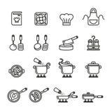 Geplaatste keuken en kokende pictogrammen De voorraad van de lijnstijl Stock Foto