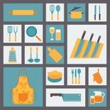 Geplaatste keuken en kokende pictogrammen, keukengerei en Stock Afbeeldingen