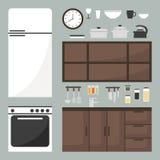 Geplaatste keukenelementen keukenmeubilair en keukengerei Stock Foto