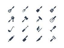 Geplaatste keukengereedschappictogrammen Stock Afbeelding