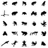 Geplaatste kikkersilhouetten vector illustratie