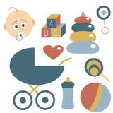 Geplaatste kinderjarenpictogrammen Elementen over Jonge geitjes Vectorillustratie, B Stock Foto
