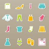 Geplaatste kledingspictogrammen Stock Foto