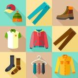 Geplaatste kledingspictogrammen Stock Afbeelding