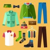 Geplaatste kledingspictogrammen Stock Foto's