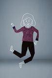 Geplaatste kleren in actie met vrouwentekening Stock Foto
